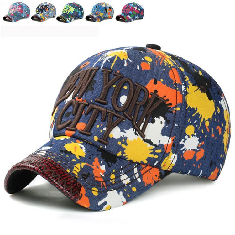 37e7a674b51b4 Wholesale CLIMATE NEW YORK CITY 3D Logo Denim Baseball Adjustable Sport  Caps Hat Sun Gorras Bone Paint Graffiti Print Chapeau Man Women Womens Baseball  Hats ...