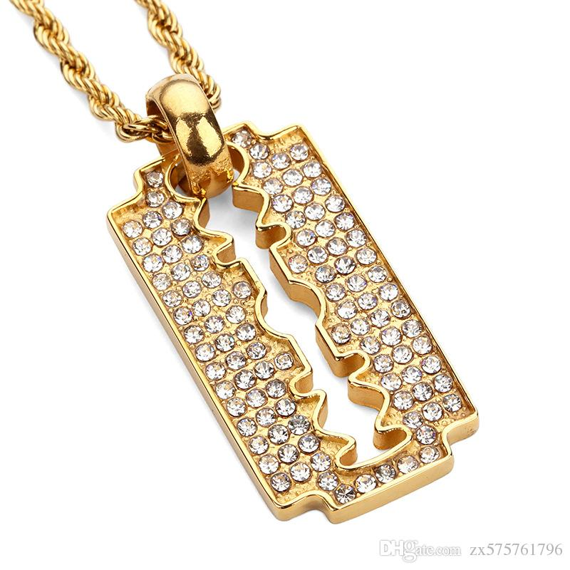 Wholesale fashion razor blade pendant necklaces gold plated steel wholesale fashion razor blade pendant necklaces gold plated steel full rhinestone personalized design punk rock mens hip hop jewelry owl pendant necklace thecheapjerseys Image collections