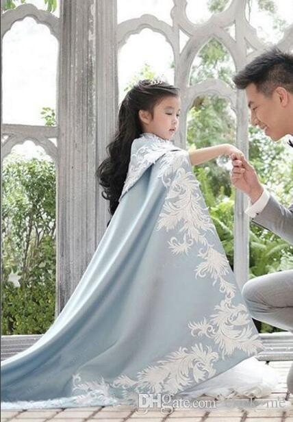 Embroidery girls pageant Dress Wedding Jacket Child Wedding Cape Cloak Bridal Bolero Shrug Dubai Abaya Kids Bridal Wraps Only sale cape