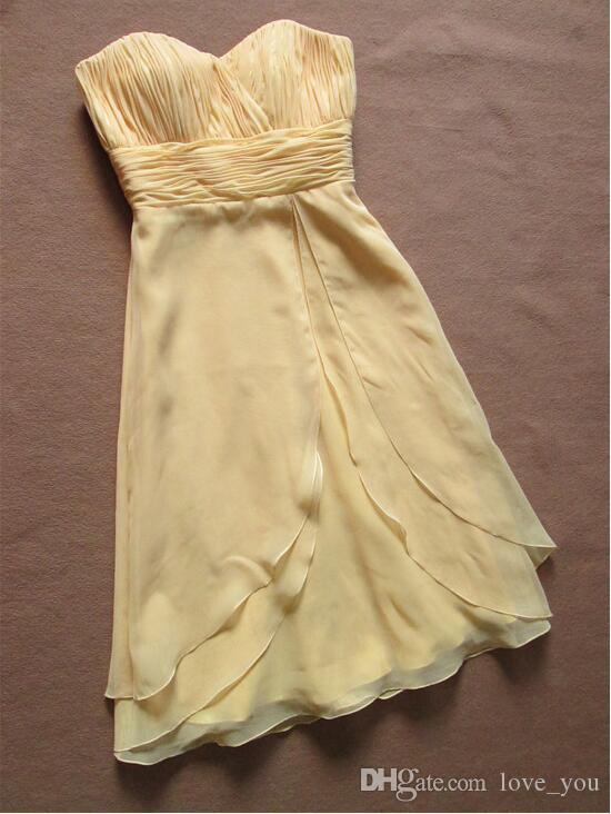 Corto gasa amarillo vestidos de dama de honor baratos de novia sin mangas acanalada criada de honor vestidos de fiesta Vestido de novia