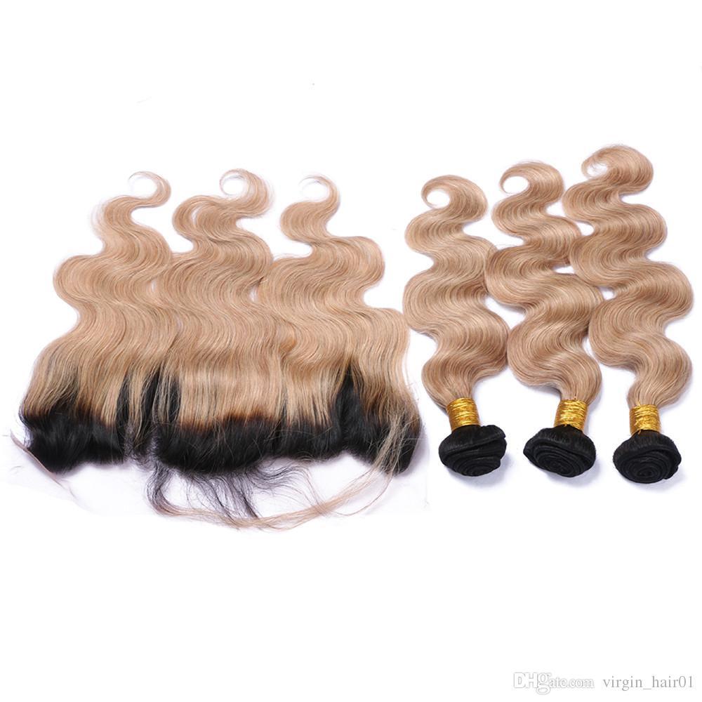 Honig Blonde Ombre Spitze Frontal Schließung Mit Körperwelle Haar Weeaves 3 Bundles 1B 27 Erdbeere Blonde Ombre Reines Haar Mit 13 * 4 Frontal