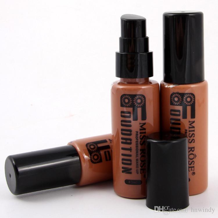 Großhandels-NEUES Fräulein Rose Brand Liquid Foundation dauerhafte natürliche Feuerzeug-Kosmetik bilden dunkle Farbe für Schwarzes freies Verschiffen