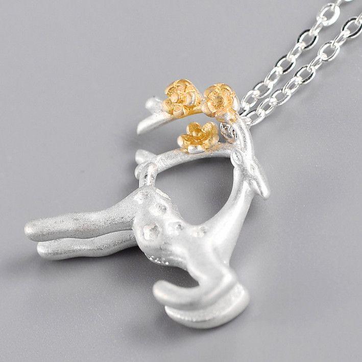925 Silver 3D Dimensional Elk Chain Necklace Cute Animal Deer Pendants&Necklaces Jewelry 2017 Drop Shipping Collar Colar de Plata