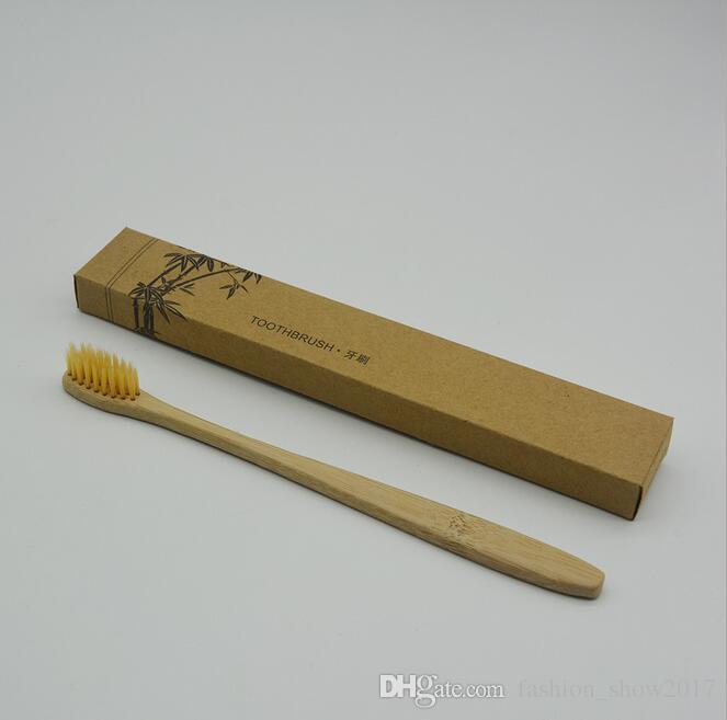 Nueva Moda Cepillo de Dientes de Bambú Corona Cepillo de Dientes Ambientalmente Cepillo de Dientes de Bambú Suave Nylon Capitellum Cepillos de Dientes de Bambú para Hotel