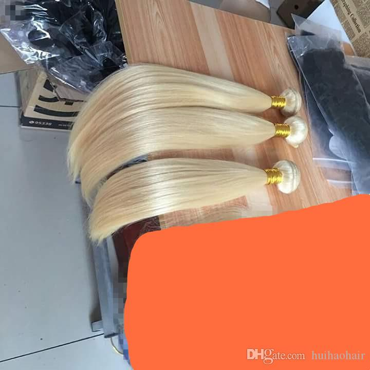Grade 9A Platinum Bleach Blonde Hair Straight Blonde Color 613 Peruvian Human Hair Weave Bundles Can Dye