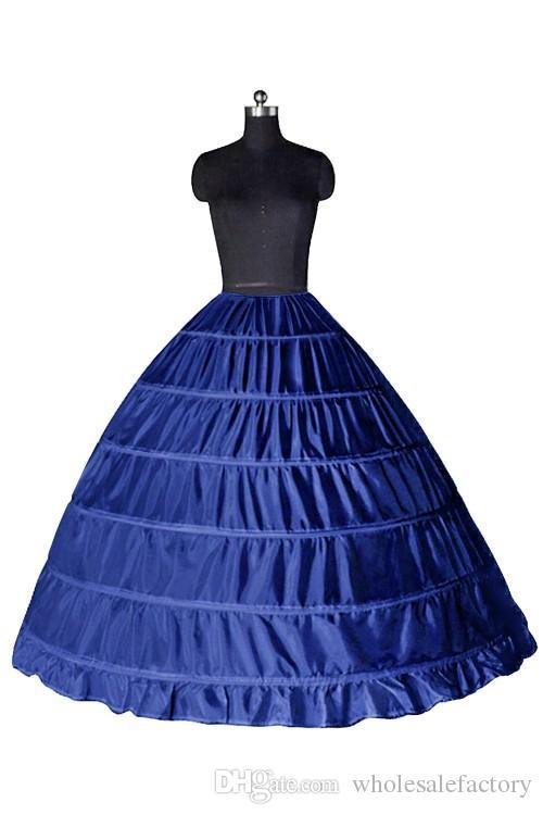 Top Quality Ball Gown 6 Hoops Petticoat Wedding Slip Crinoline In Stock Bridal Underskirt Layers Slip Skirt Crinoline For Quinceanera Dress
