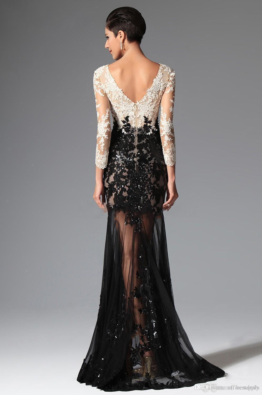 Черная белая Русалка с длинными рукавами Кружевные вечерние платья 2016 Elie Saab V Шея Sheer Illusion Sequined Celebrity Prom Dresses Вечерняя одежда