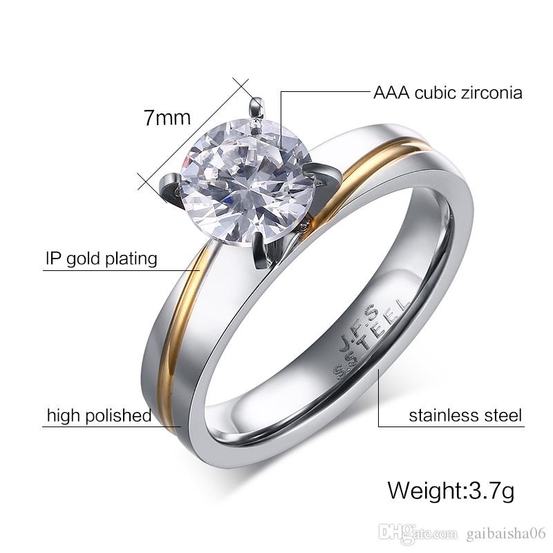 Meaeguet Women's Rings Wedding Engagement Eternity Rings for Women 316L Stainless Steel Love Promise Round Cut CZ Ring anillos RC-238