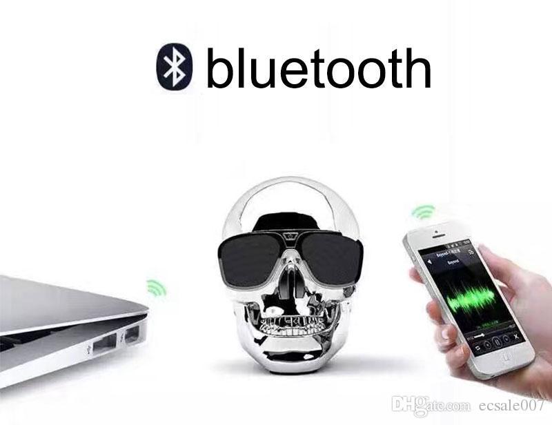 Super Cool Skull Head Sunglass NFC Funzione Mini Altoparlante senza fili Bluetooth Altoparlante portatile Hi-Fi Super Bass stereo
