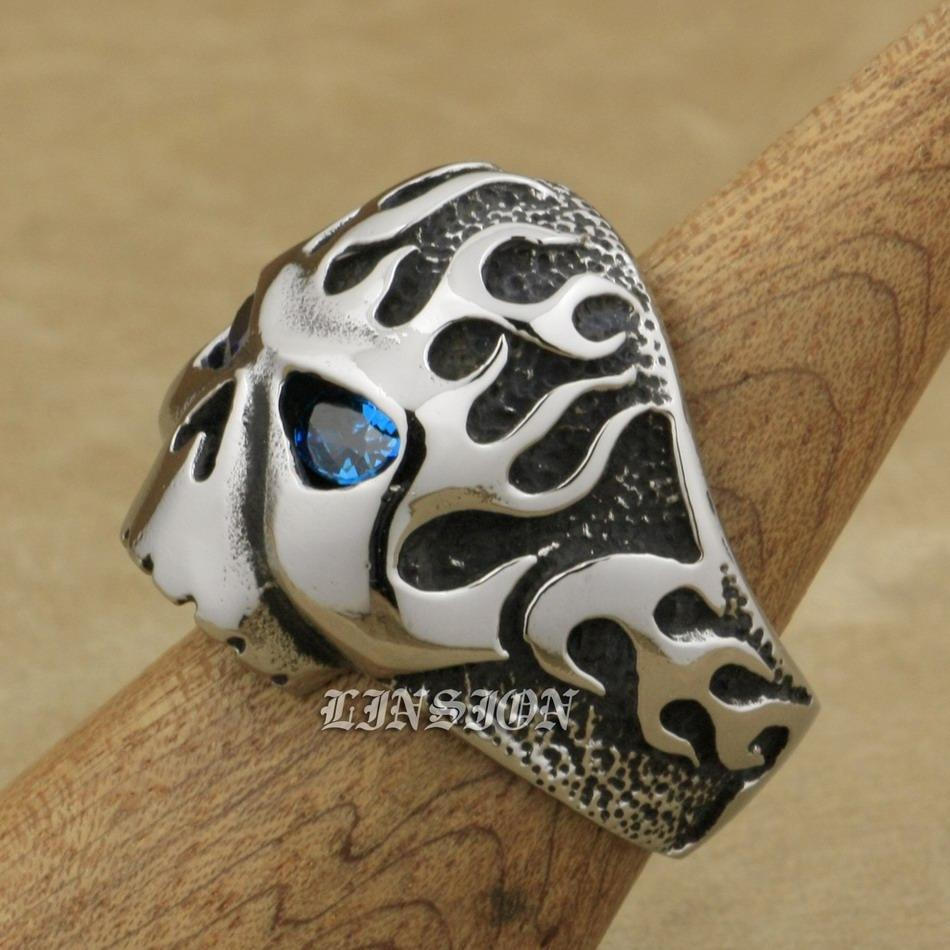LINSION 316L Stainless Steel Fire Skull Blue CZ Eyes Mens Biker Rocker Punk Ring 3F102 US Size 7 to 15