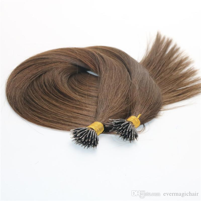 Remy Nano Ring Hair Extensions #4 Dark Brown Virgin Brazilian Human Hair Pre bonded Mrico Nano Beads Ring Loop Hair Extensions 1g/str