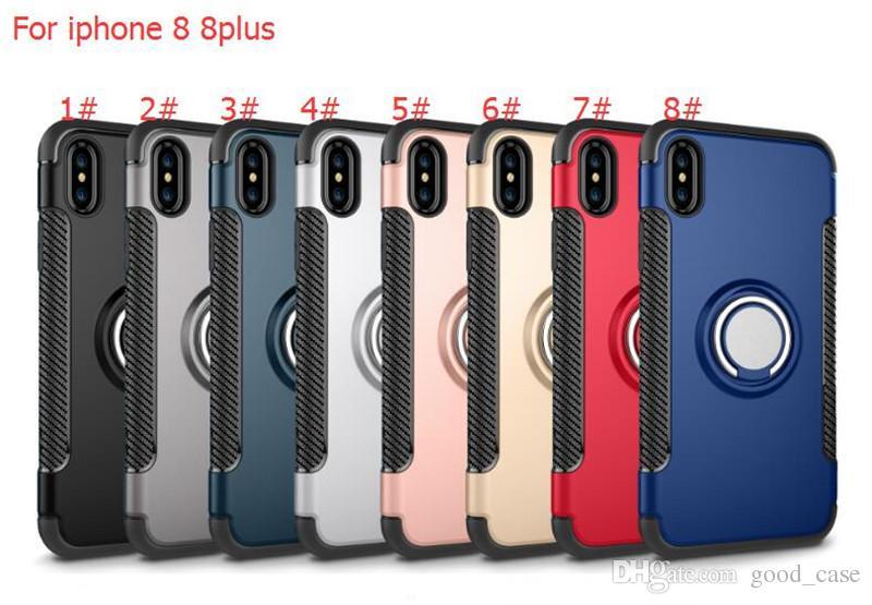 Hibrid TPU + PC 360 Halka Standı Tutucu Zırh Vaka Şok geçirmez Kılıflar Manyetik araç sahipleri Kapak iphone 7 6 S Artı iphone 8 Samsung S8 S7 en