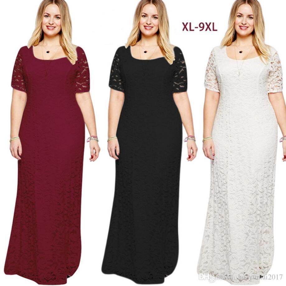 a3383ba62c88b 2019 Hot Sales Women Elegant Lace Party Dress Plus Size 7XL 8XL 9XL Short  Sleeve Floor Length Summer Casual Long Maxi Dress From Haoyunlai2017