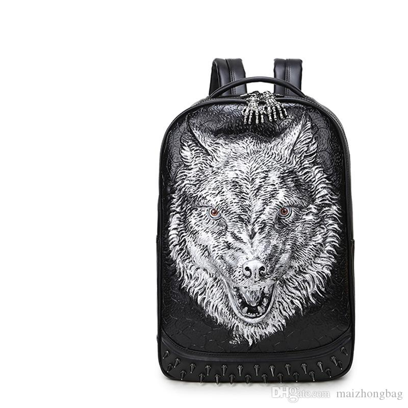 3D Wolf Head Women Men Designer Backpack Rivert Sport Bag Fashion Computer  Bags Laptop Good Quality PU Leather Hardware Big Capacity Backpack Designer  ... a7d413e11f494
