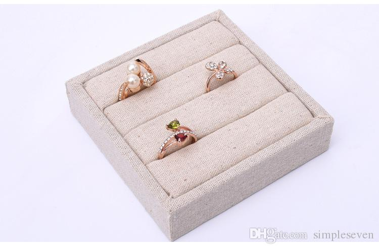 [Simple Seven] Brief Korean Linen Bracelet Display High Quality Ice Velvet Rings Trays Earring Stud Cases Jewelry Container