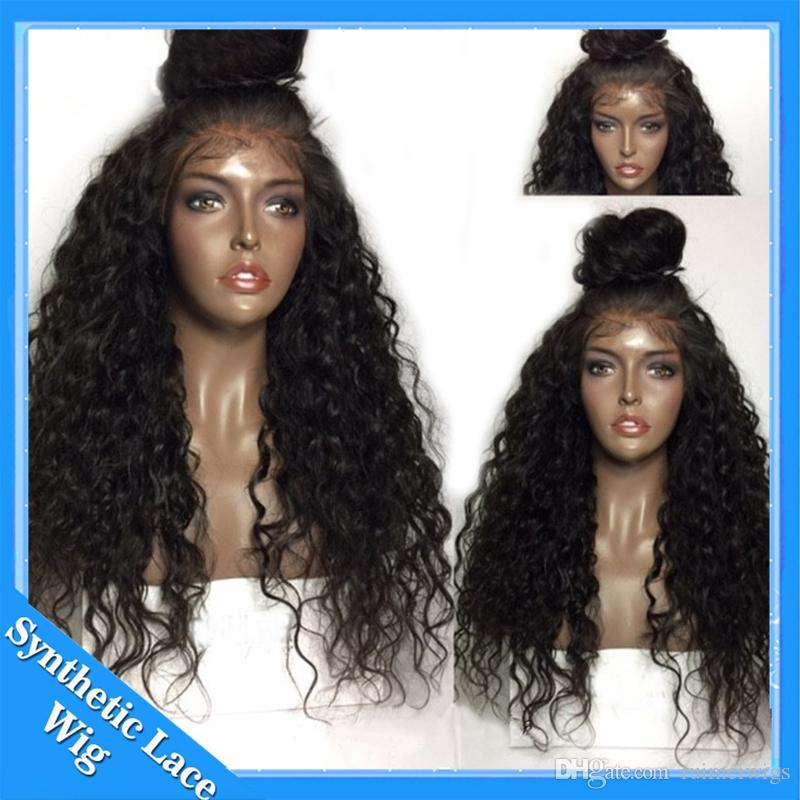 Cheap Afro Curly Lace Front Wigs Synthetic Soft Fiber Hair Synthetic Lace Front Wig Heat Resistant Glueless Synthetic Wig For Black Women