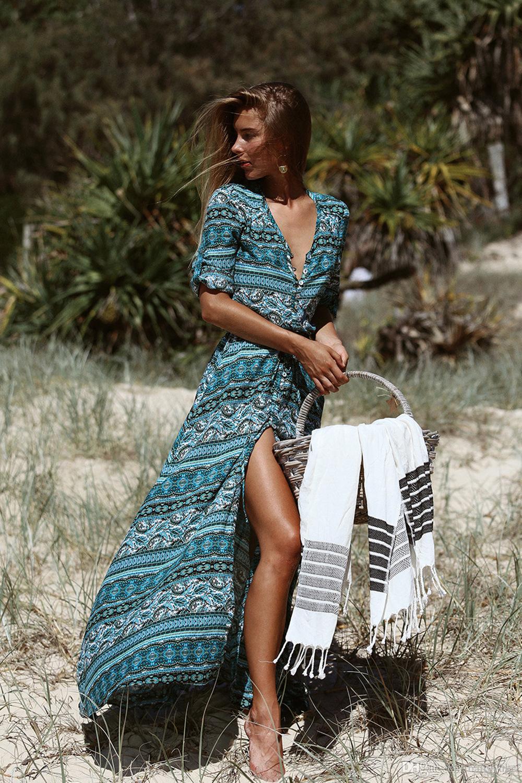 Street Style Split Dresses Women's Clothing Summer Bohemian Striped Print New Dress Women 's Long Beach Dress z85