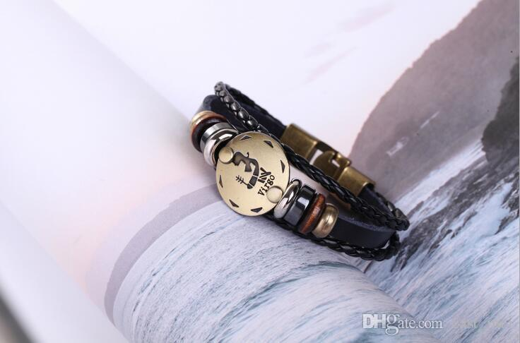 Twelve Constellations Weave Adjustable Leather Popular Male Female Student Couple Bracelet FB010 a Beaded, Strands