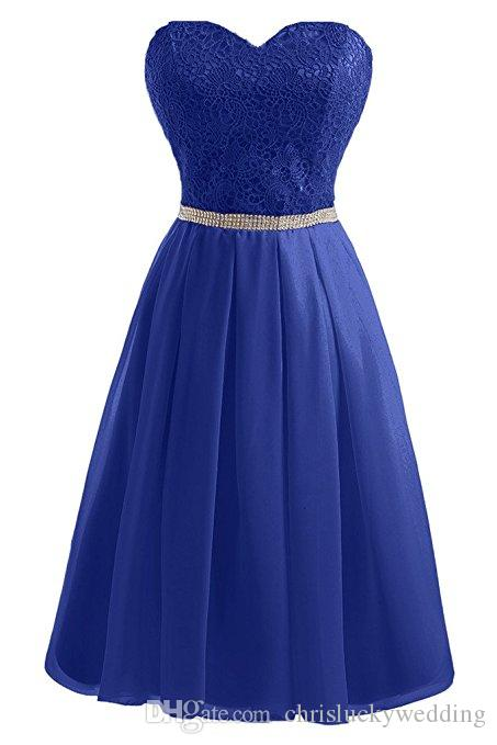 Lace Cheap Bridesmaid Dresses Short Prom Sweetheart Homecoming Dress Strapless Sash Chiffon Wedding Guest Dress Bridal Gowns Plus Size