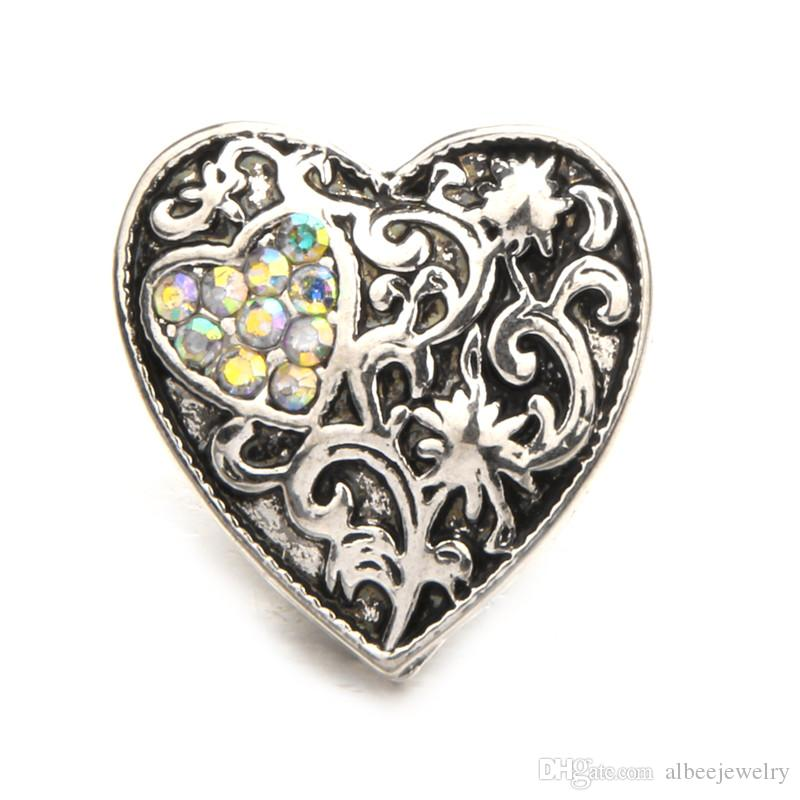 Mix Colors Antique Silver Rhinestone Heart Noosa Chunks Metal Ginger 18mm Snap Buttons For Bracelet Jewelry