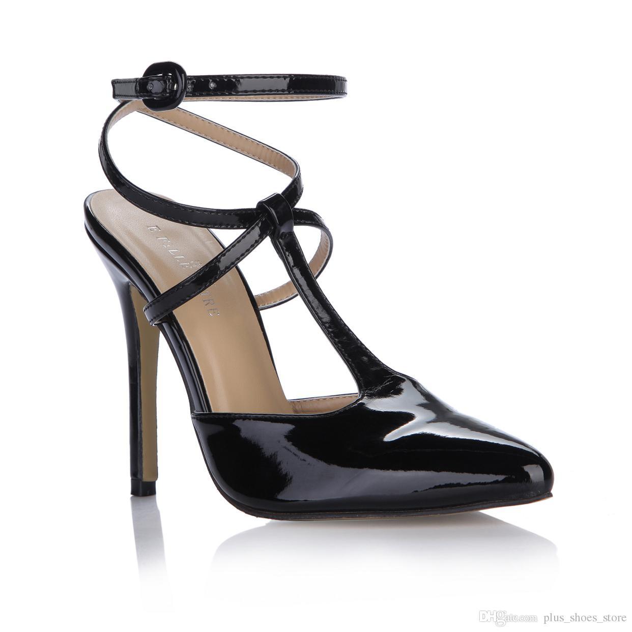77638c08a36 Black Patent Leather Women Sandals Shoes 2017 Plus Size Ladies Party Shoes  Pointed Toe T Strap Buckle Strap Shoes Pumps Platform Shoes Prom Shoes From  ...