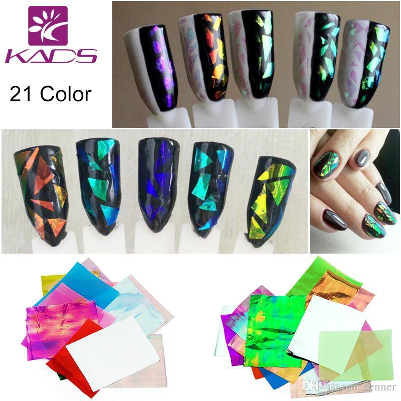 Wholesale 3d Holographic Broken Glass Foils Finger Nail Art Mirror ...