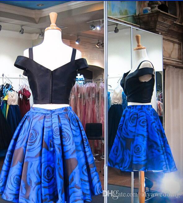 Short Prom Dresses Off Shoulder Black top and Royal Blue Floral Print Satin Formal Homecoming Cocktail Party Gowns Cheal Real photo