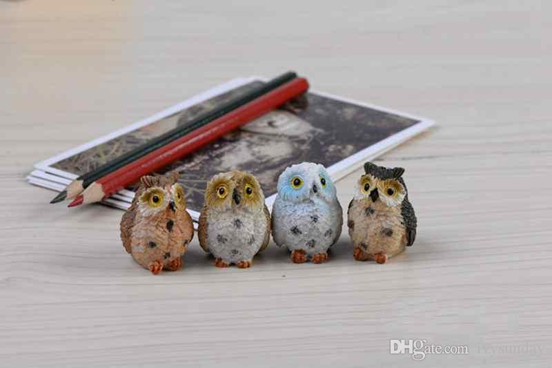 Mini Resin Exposed Foot Owls Fairy Garden Miniatures Handicraft Moss Terrarium Creative Green Plant Gift Micro Landscape Ornaments DIY Zakka