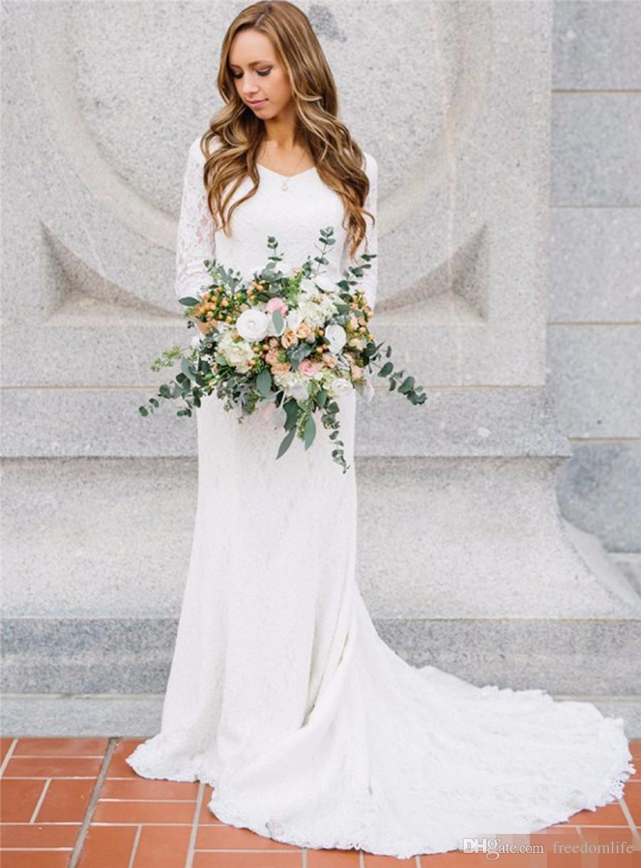 Старинные богемные свадебные платья с 3/4 с длинными рукавами кружева V-образным вырезом Свадебные платья 2017 Страна Bridal платье