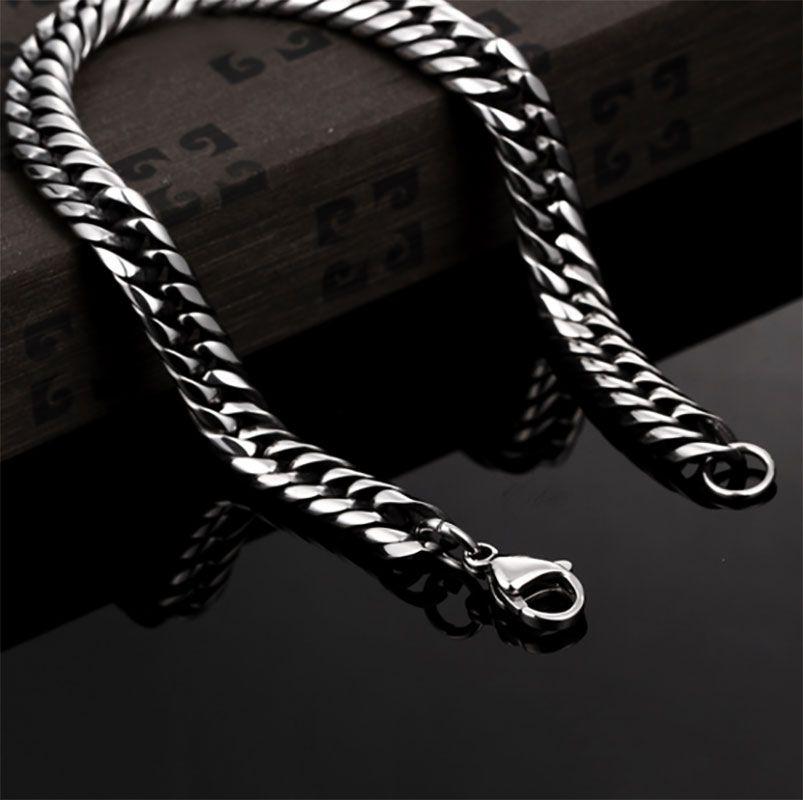 20cm Mens Women 316L Silver Stainless Steel 7mm Interlock Snake Bones Link Chain Bracelet