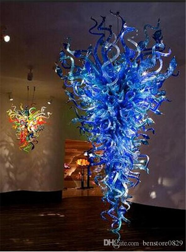 Large Size Blue Glass Chandelier Lighting 100% Hand Blown Glass LED Chain Pendant Lamps Hotel Decor Modern Lamps
