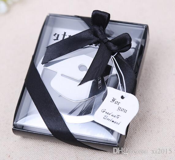 Nuevo 100 unids Graduation Cap marcador de metal con elegante borla negro Party Souvenirs Graduate Party Faovr regalos para invitados