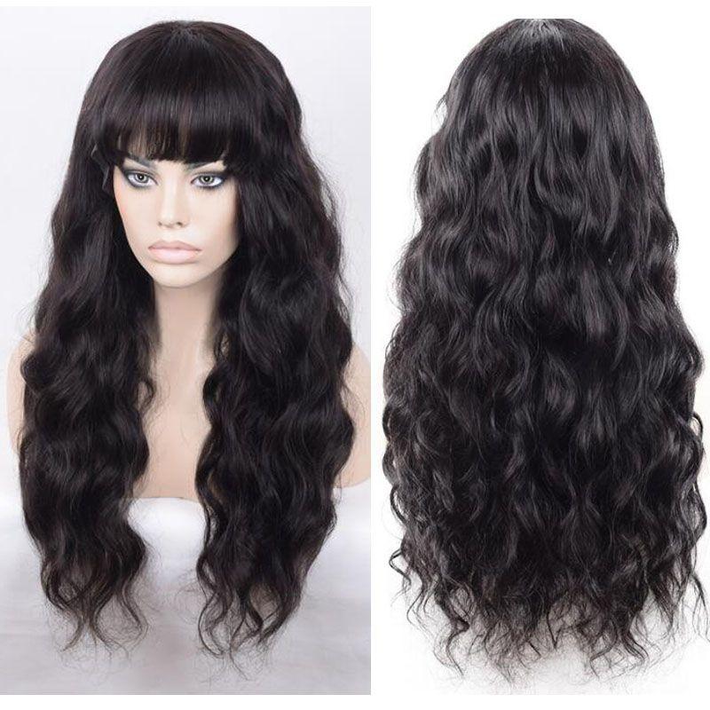 Unverarbeitete hochwertige Menschenhaar kambodschanischen Haar volle Spitze Perücke mit Pony Körper Welle Großhandel Lace Front Perücken