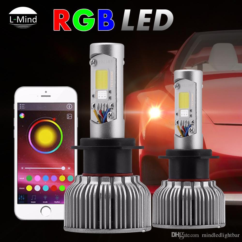 2019 Cob Chip 30w H7 H8 H11 9005 9006 9012 Car Lamp Rgb