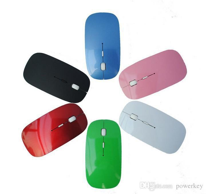 Ratón y receptor inalámbricos ultrafinos Candy color de alta calidad 2.4G USB óptico Colorido Oferta especial ratón de computadora