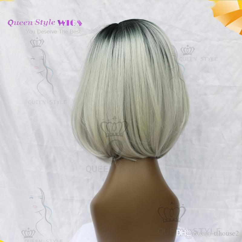 short black roots bob wig clear hairline cheap synthetic Lace front wig female short haircut wig natural looking women Glueless lace wigs