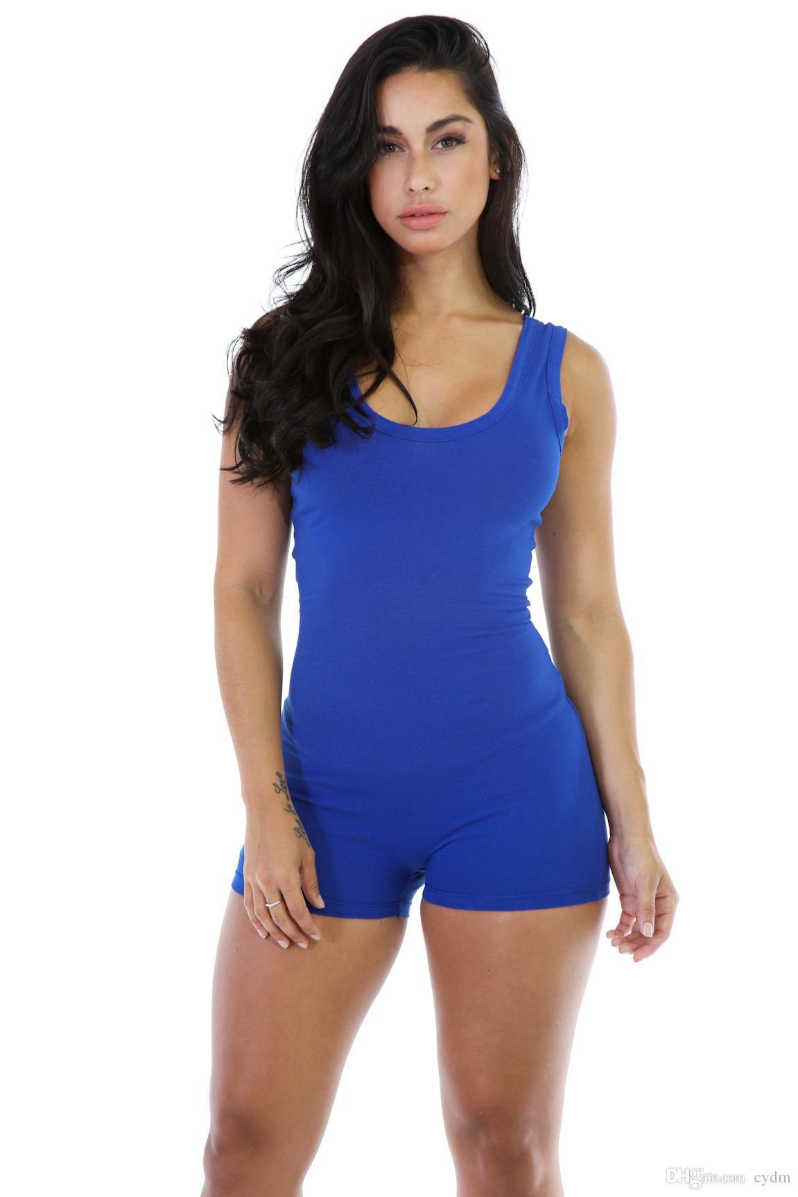 2021 Европа Соединенные Штаты Мода Горячая чистый цвет круглой головы Сексуальный отворот без рукавов тонкое движение тела шорты