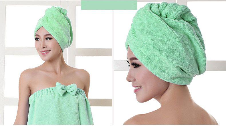 Duschhauben Handtuch Frauen Mikrofaser Magie Duschhauben Trocknen Trocknen Turban Wrap Handtuch Hut Mütze Schnell Trocknendes Trockner Bad 60 * 25 cm WX-T17
