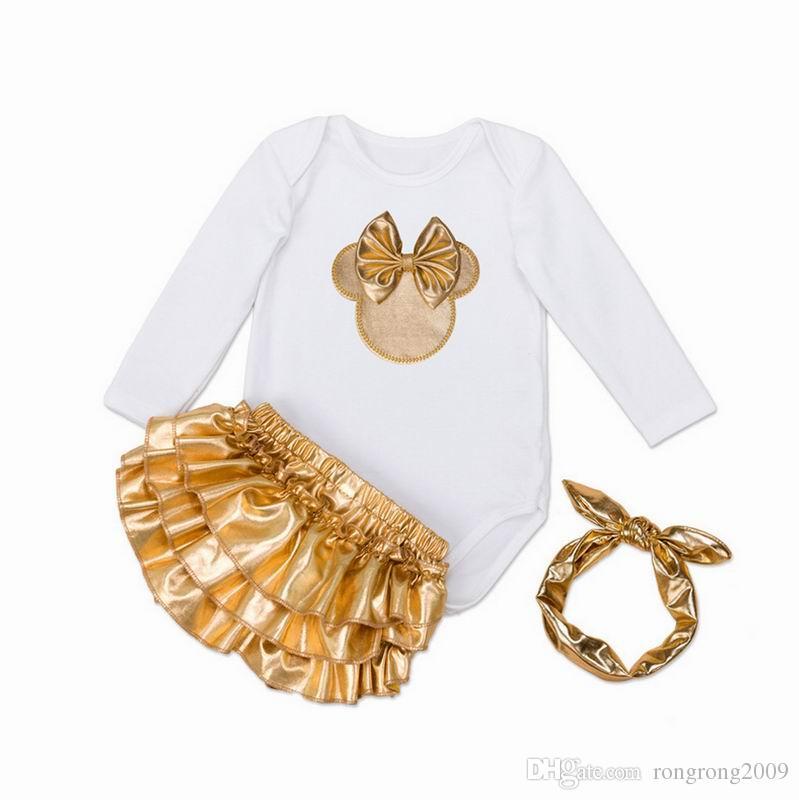 Bebek Kız Giyim Seti Yenidoğan Bebek Kulakları Bodysuits Noel Giymek Moda Kıyafetler Toddlers Giyim E7670