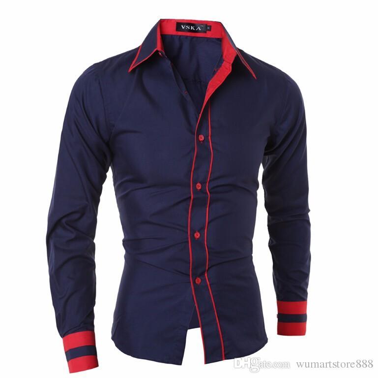2017 nuevos hombres de manga larga camisas de vestir de cuello doble botón diseño único Slim Fit camisas de marca Chemise Homme Camisa Masculina