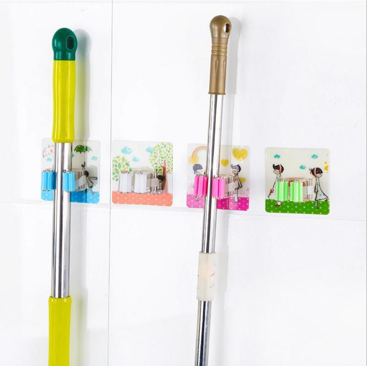 cuisine pratique forte sans couture mur collant vadrouille salle de bain rangement vadrouille supports porte-balai supports de stockage