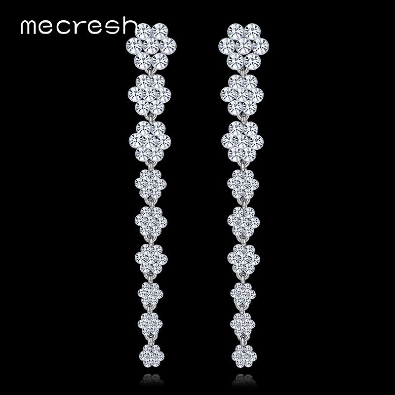 Mecresh Clear Flower Crystal Bridal Long Earrings Silver Color Drop Brincos  2017 Fashion Wedding Jewelry For Women EH584 High Quality Jewelry China  Jewelry ... 7ac89a9cbc50