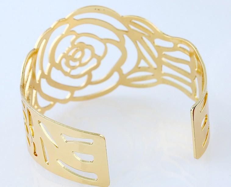 Fashion Womens Jewelry Bangle Open Gold /Silver Tone Cut out Rose Cuff Bracelets Bangle For Womens Gifts Jewelry