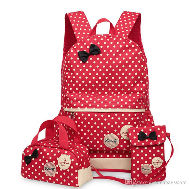 Hot Sale Cute Bow Wave Point Girl School Bags for Teenagers Backpack Set Women Shoulder Travel Bags Rucksack Mochila Knapsack