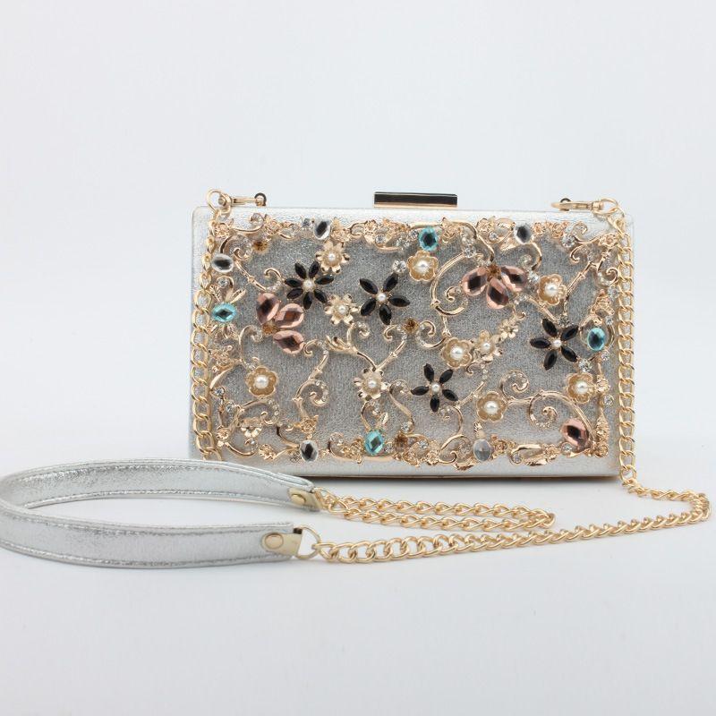 Mode Abend Clutch Taschen für Damen Vintage Aushöhlen Bunte Diamanten Blumen Minaudiere Frauen Schulter Crossbody Taschen