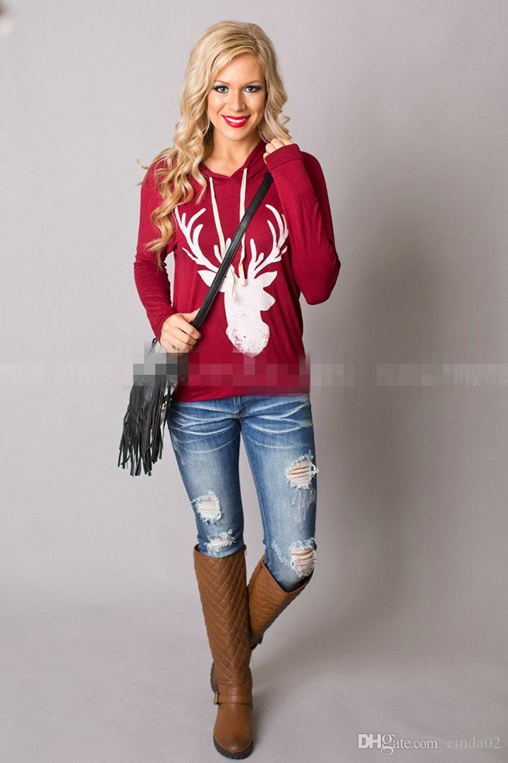Women's New Style Long Sleeved T-shirt Deer Printed Womens Hooded sweater Auntumn Spring And Winter