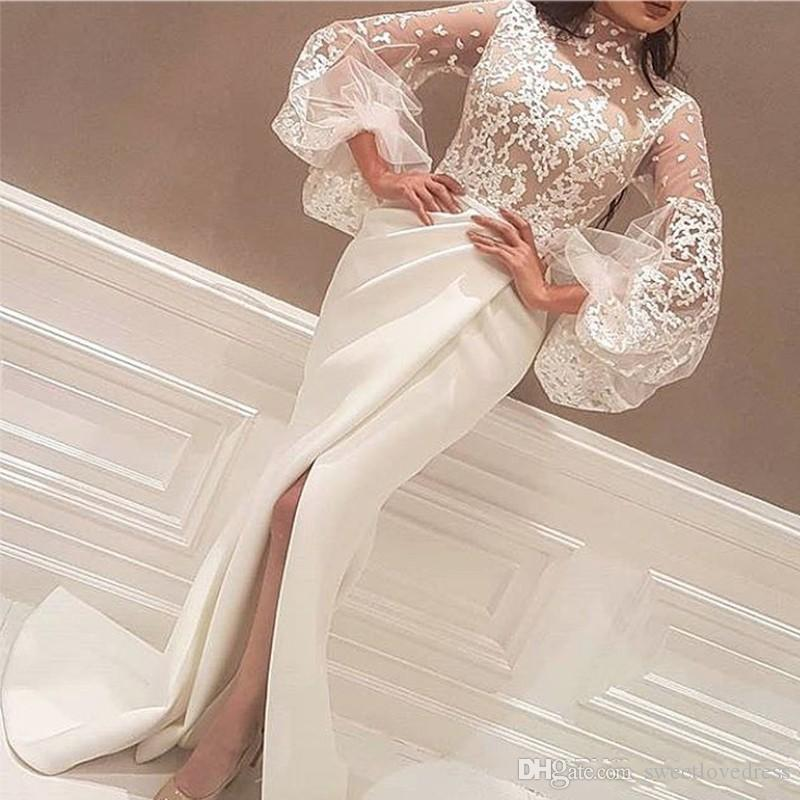 2019 Newest High Neck White Arabic Evening Dresses Floor Length Lace Appliques Long Big Sleeve Mermaid Side Slit Prom Gowns
