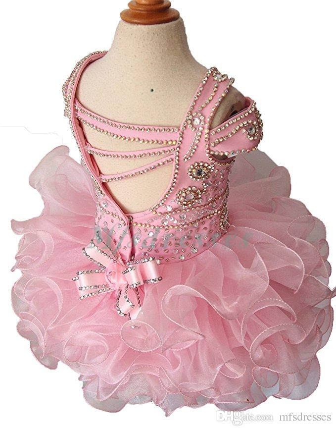 2017 Cute Pink Short Ball Gowns Girls Pageant Dresses Flower Girl Dress Puffy Cupcake Dress for Baby Infant Girls Birthday Party Dresses