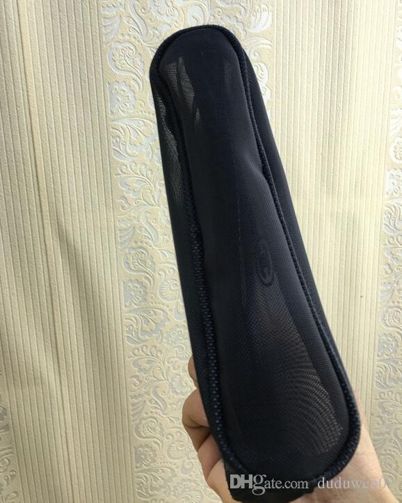 la moda NUEVO C cremallera bolsa de malla Negro elegante famosa caso de la belleza cosmética de maquillaje de lujo del diseñador del bolso del organizador del artículo de tocador de regalo caja de VIP