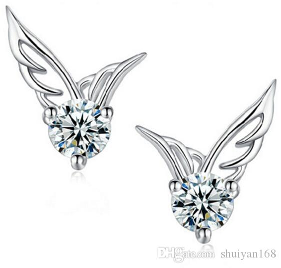 925 Sterling Silver Plated Earrings Angel Wings DHL Pierced Female Ear Stud for Women Jewelry Fashion Earring Valentine's Day Gift